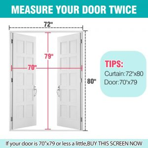 "Upgraded 72""x80"" Magnetic Screen Door for French Door"